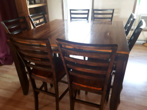 Counter height table and 8 chairs
