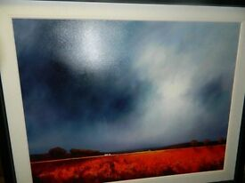 Framed mixed medium dramatic landscape by Barry Hilton