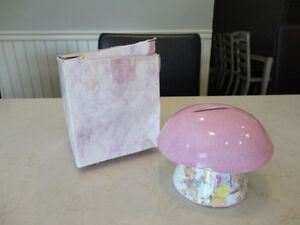 New Baby Christening Fine Bone China Pink Mushroom Coin Bank