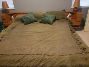 Oak King bed frame and mattress with built in side tables