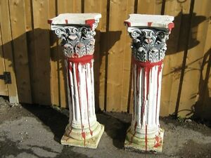 2 HALLOWEEN GRAVEYARD BLOODY PILLARS $15. each