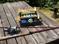 FISHING TACKLE-DAIWA J-40R REEL AND 10 FT ROD & TACKLE