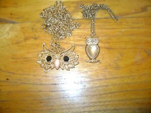 TWO  OWL PENDANTS ON CHAINS