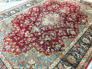 semi-antique persian Rug,vintage ,11.10 x 8.3,Red,Gold,Blue