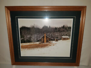 Framed picture – cabin on a hill side winter scene
