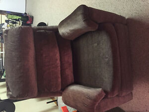 Dark brown chair and recliner