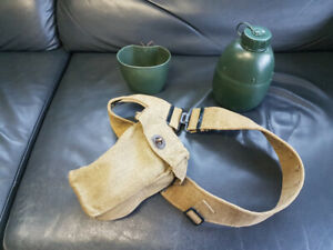 Military canteen kit with pouch and web belt