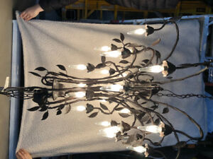 Chandelier light brown/bronze colour, dimmable lights with chain