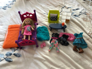 My Life mini doll with clothes and living room set