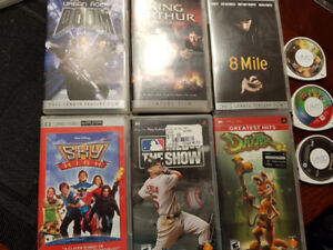 PSP game and movie lot, with 32mb card