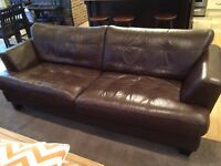 Brown leather couch/sofa