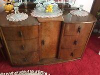 Vintage wooden bedroom suite - dressing table and wardrobes
