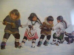 """Inuit Painting by Dorothy Francis """"Winning Side"""" Lithograph Stratford Kitchener Area image 3"""