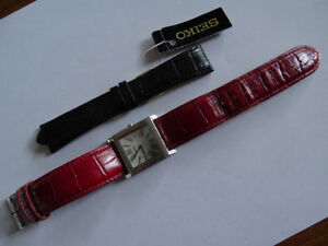 Birks WRIST WATCH, RED LEATHER BAND NEW BLACK BAND