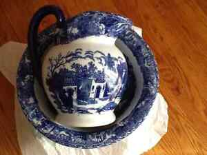 Blue and white pitcher and wash basin