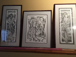 3 Calvin Cornish Native Prints-matted and framed