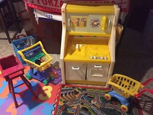 Kids play kitchen with high chair, grocery cart and play food. Sarnia Sarnia Area image 3