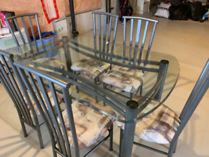 Dinette Set - Glass Table with 6 chairs