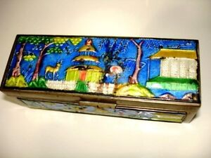mid century CHINESE enamel STAMP BOX deer pagoda OLD BRASS