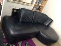 Black Genuine corner sofa can be use as bed