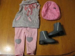 "18"" DOLL OUR GENERATION GIRL GREY AND PINK OUTFIT"