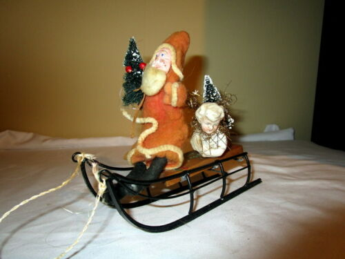 Antique Spun Cotton Santa Claus on sleigh with Angel head ornament ,Germany