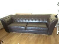 Large Conran leather Chesterfield Sofa