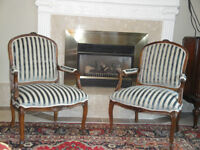 French open arms Berger Chairs, $500 each or $900 for the pair