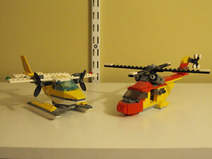 Lego Helicopter and Small Plane FULLY BUILT SETS