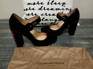 Brand New Burgundy Velvet Gianvito Rossi Mary Jane Pumps