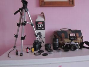 Pentax ME Film Camera; 3 Lenses, Flash, Bag, Film, Tripod