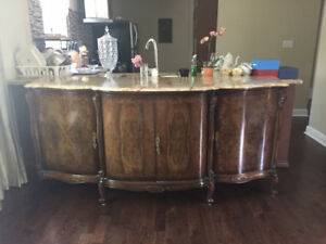 Antique French buffet commode burled wood and marble top 1800's