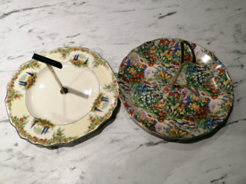 2 cake stands, afternoon tea plates retro