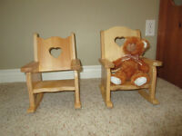 Hand made wooden doll rocking chairs