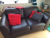 Chocolate brown M&S leather sofa