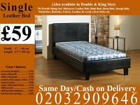 Strong PU Leather Frame Single Bedding Black Brown also have double and king Hartley