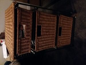 Wicker 3 drawer storage unit