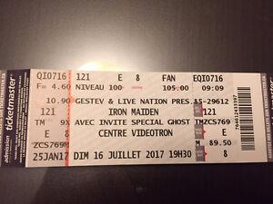 Paire de billet pour Iron Maiden (16 juillet 2017)