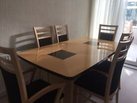 Maple vaneer dining table & display unit
