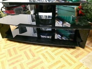 3 Layer Black Glass TV Table