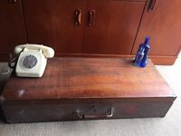 LARGE VINTAGE WOODEN TRUNK SUITCASE FREE DELIVERY CHEST