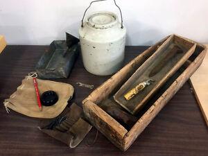 Vintage items including crock