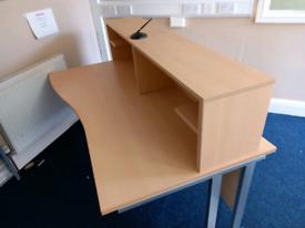 Beech Office Reception Desk & 1600 L x 1000 D x 720 H mm