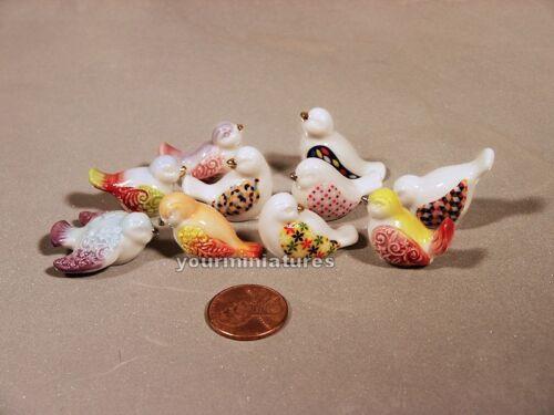 Set of 10 French Porcelain Bird Feves Dove & Pigeons Epiphany Cake