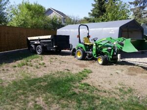 John Deere 2305 tractor, and End Dump Trailer