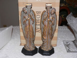 Large Heavy Brass Angel candle holders PAIR