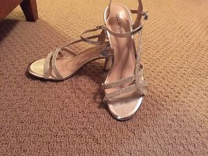 Silver diamond heels - almost new - size 7