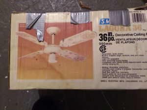 """36"""" White Decorative Ceiling Fan with light kit"""