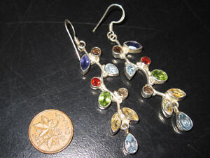 Brand New Beautiful Long Sterling Silver Multi Gem Earrings