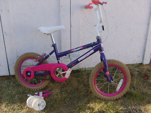 """Girls 14"""" Supercycle bike with training wheels"""